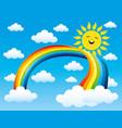 rainbow and sun vector image vector image