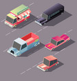 retro cars moving on highway isometric vector image