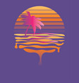 retro striped sun and palm vector image vector image