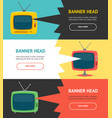 retro tv banner horizontal set vector image vector image