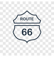 route 66 concept linear icon isolated on vector image