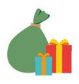 santa claus bag with giftboxes vector image vector image