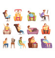 sedentary lifestyle retro cartoon icons set vector image vector image
