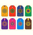 set ethnic template tags logos mandalas in vector image