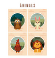set of cute animals cards vector image vector image