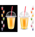 set of disposable plastic glass vector image vector image