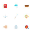 set of food icons flat style symbols with pizza vector image