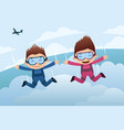 skydiving couple vector image vector image