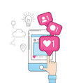 smartphone website and chat media icon vector image