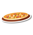 sticker template with pizza isolated vector image vector image
