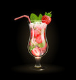 strawberry mojito cocktail vector image vector image