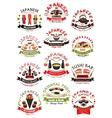 Sushi seafood sashimi icons set vector image