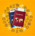 travel and tourism concept card with passport vector image vector image