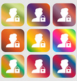 user is blocked icon sign Nine buttons with bright vector image vector image