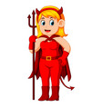 women in halloween red devil costume vector image