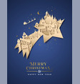 year paper cut star city house vector image