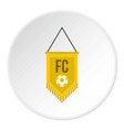 yellow pennant with soccer ball icon circle vector image vector image