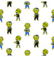 zombie cute cartoon kid seamless pattern vector image