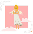Angel girl greeting card vector image