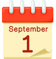 First of September date on calendar vector image