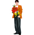 man holding flower bouquet vector image