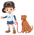 a boy and dog on white background vector image vector image