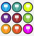 Basketball backboard icon sign Nine multi colored vector image