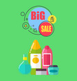 big sale for shampoos and shower gels promo poster vector image vector image