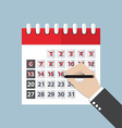 Businessman hands mark on the calendar vector image vector image