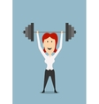 Businesswoman holding dumbbell above head vector image