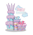 cake with candles and presents to happy birthday vector image vector image