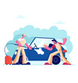 car wash service concept with couple workers vector image