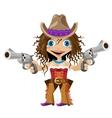Cartoon character of Wild West girl cowboy vector image vector image
