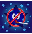 Cartoon star no smoking vector image vector image