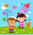 Children catching butterflies