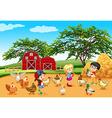 Children feeding animals in the farm