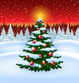 Christmas tree with decoration in the Forest vector image