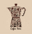 coffee pot of small icons flat of vector image