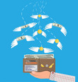 coin and dollar bill flying in hand with wallet vector image vector image