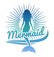 colorful mermaid silhouette logo or label vector image