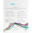 creative simple cv template with colorful music vector image vector image