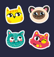 cute cats set stickers on dark blue background vector image vector image