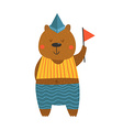 Cute sailor bear with flag vector image