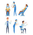 dentists characters stomatology medicine mouth vector image