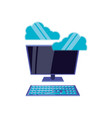 desktop computer with clouds computing vector image vector image