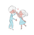 doodle hand draw couple kiss for valentines day vector image vector image