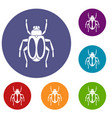 dung beetle icons set vector image vector image