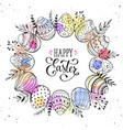 easter eggs wreath vector image