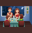 family having dinner in a modern house vector image vector image
