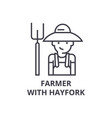 farmer with hayfork line icon outline sign vector image